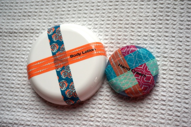 Lids decorated with washi tape