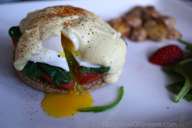 Hollandaise with a pinch of turmeric to give it a slight yellow color