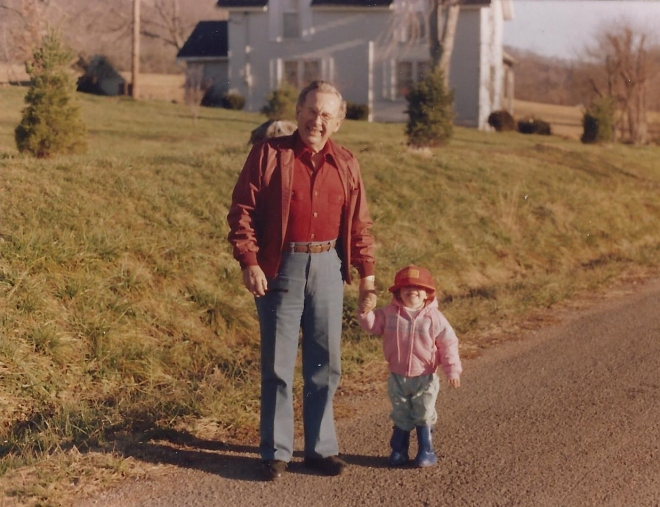 This is one of my favorite photos -- my grandfather and me on the farm in TN.