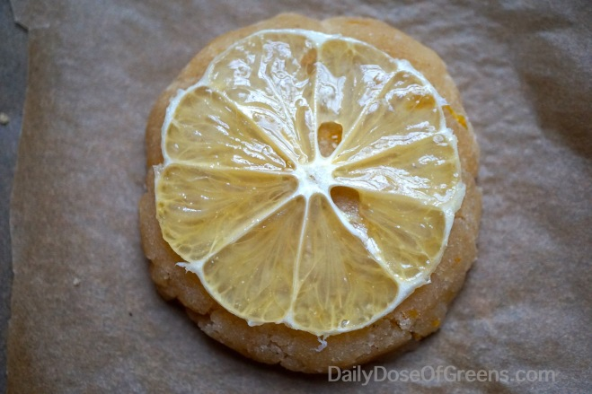 Citrus Tea Cookie topped with a Meyer lemon prior to baking